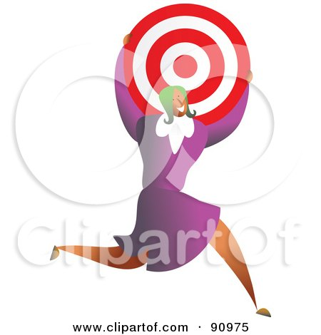 Royalty-Free (RF) Clipart Illustration of a Successful Businesswoman Carrying A Target by Prawny