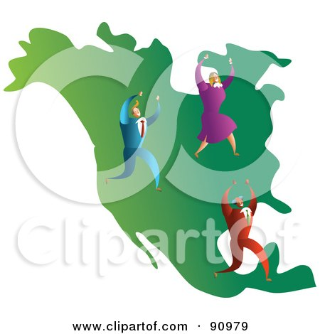 Royalty-Free (RF) Clipart Illustration of a Successful Business Team On A Map Of North America by Prawny
