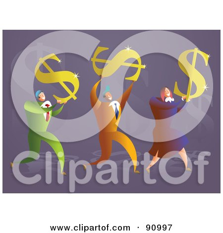 Royalty-Free (RF) Clipart Illustration of a Successful Business Team Carrying Dollar Symbols by Prawny