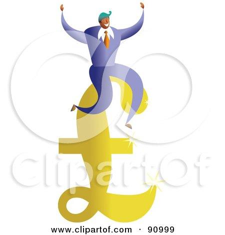 Royalty-Free (RF) Clipart Illustration of a Successful Businessman Sitting On A Pound Symbol by Prawny