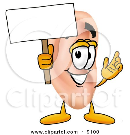 Clipart Picture of an Ear Mascot Cartoon Character Holding a Blank Sign by Toons4Biz
