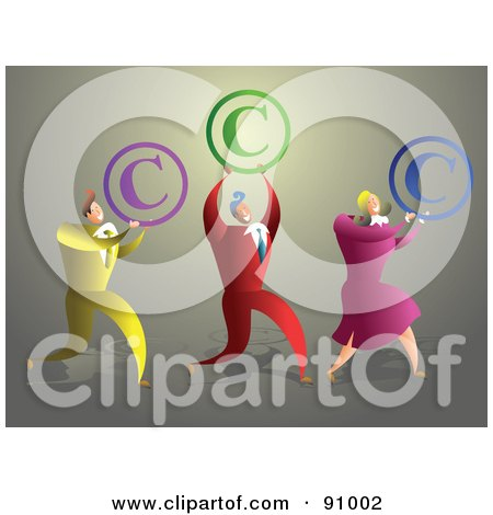 Royalty-Free (RF) Clipart Illustration of a Business Team Carrying Copyright Symbols by Prawny
