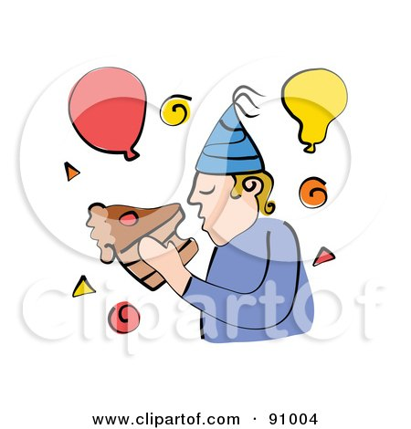 Royalty-Free (RF) Clipart Illustration of a Man Eating A Slice Of Chocolate Birthday Cake With His Bare Hands by Prawny