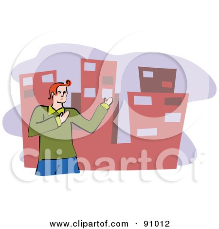 Royalty-Free (RF) Clipart Illustration of a City Bloke Gesturing To Buildings by Prawny