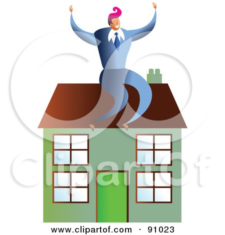 Royalty-Free (RF) Clipart Illustration of a Successful Businessman Sitting On A House by Prawny