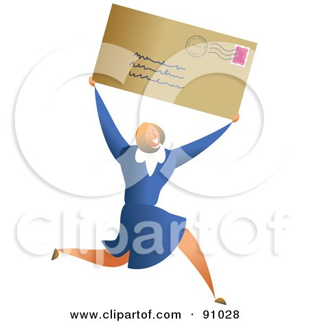 Royalty-Free (RF) Clipart Illustration of a Successful Businesswoman Carrying A Letter by Prawny