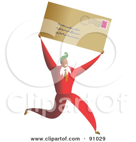 Royalty-Free (RF) Clipart Illustration of a Successful Businessman Carrying A Letter by Prawny