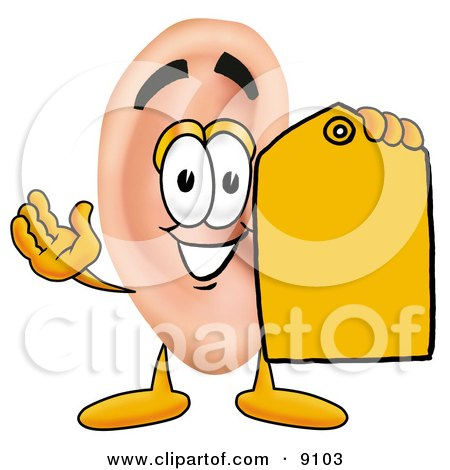 Clipart Picture of an Ear Mascot Cartoon Character Holding a Yellow Sales Price Tag by Toons4Biz