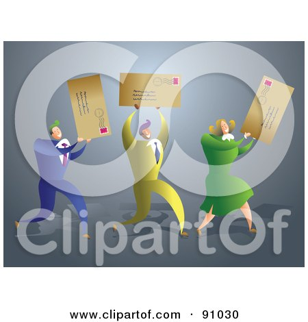Royalty-Free (RF) Clipart Illustration of a Successful Business Team Carrying Letters by Prawny