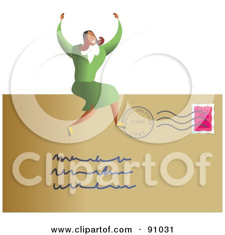 Royalty-Free (RF) Clipart Illustration of a Successful Businesswoman Sitting On A Letter by Prawny