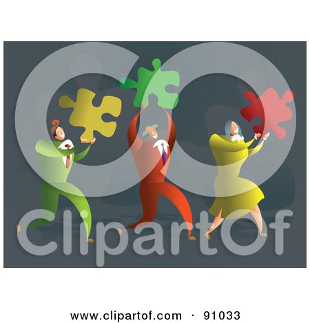 Royalty-Free (RF) Clipart Illustration of a Successful Business Team Carrying Puzzle Pieces by Prawny