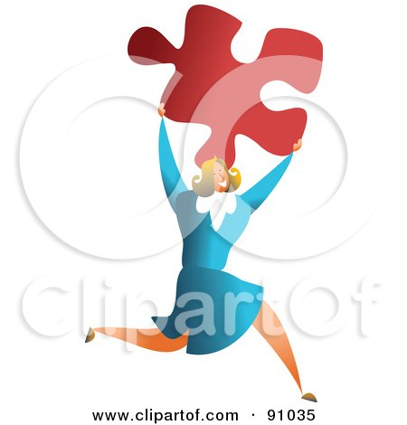 Royalty-Free (RF) Clipart Illustration of a Successful Businesswoman Carrying A Puzzle Piece