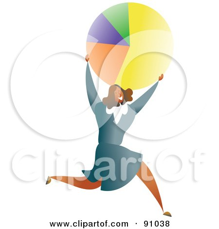 Royalty-Free (RF) Clipart Illustration of a Successful Businesswoman Carrying A Pie Chart by Prawny