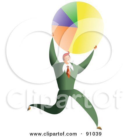 Royalty-Free (RF) Clipart Illustration of a Successful Businessman Carrying A Pie Chart by Prawny