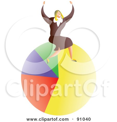 Royalty-Free (RF) Clipart Illustration of a Successful Businesswoman Sitting On A Pie Chart by Prawny