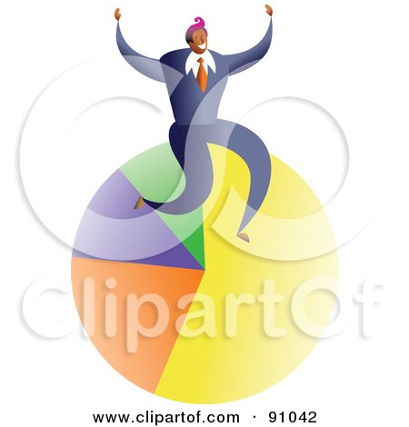Royalty-Free (RF) Clipart Illustration of a Successful Businessman Sitting On A Pie Chart by Prawny