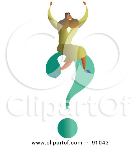 Royalty-Free (RF) Clipart Illustration of a Successful Businesswoman Sitting On A Question Mark by Prawny
