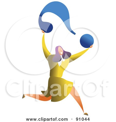 Royalty-Free (RF) Clipart Illustration of a Successful Businesswoman Carrying A Question Mark by Prawny
