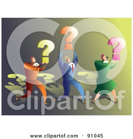 Royalty-Free (RF) Clipart Illustration of a Successful Business Team Carrying Question Marks by Prawny