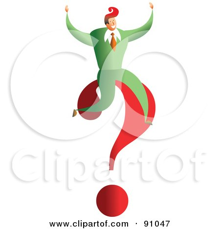 Royalty-Free (RF) Clipart Illustration of a Successful Businessman Sitting On A Question Mark by Prawny