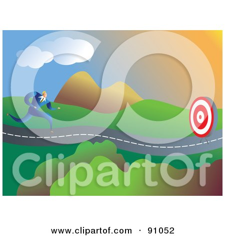 Royalty-Free (RF) Clipart Illustration of a Businessman Running Towards A Target On A Roadway by Prawny