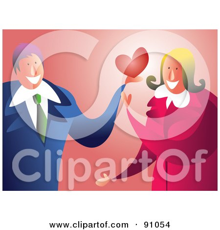 Royalty-Free (RF) Clipart Illustration of a Sweet Businessman Giving A Woman His Heart by Prawny