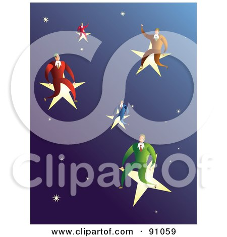 Royalty-Free (RF) Clipart Illustration of a Male Business Team Sitting On Stars In A Sky by Prawny