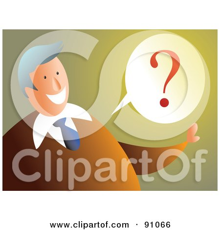Royalty-Free (RF) Clipart Illustration of a Businessman With A Question Balloon by Prawny