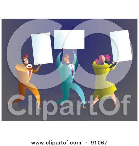Royalty-Free (RF) Clipart Illustration of a Business Team Carrying Blank Cards by Prawny