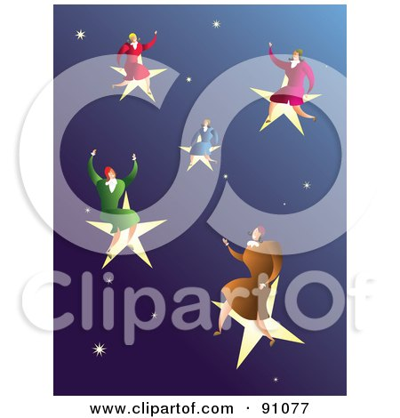 Royalty-Free (RF) Clipart Illustration of Successful Businesswomen On Stars In A Sky by Prawny