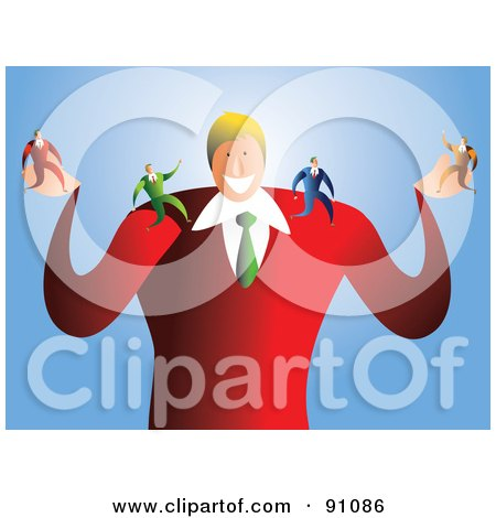 Royalty-Free (RF) Clipart Illustration of a Businessman With Tiny Employees On His Arms by Prawny