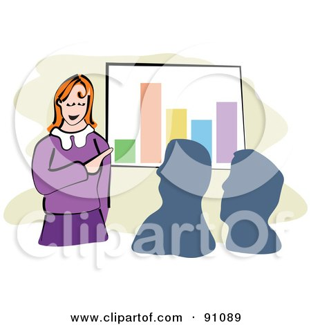 Royalty-Free (RF) Clipart Illustration of a Businesswoman Discussing Financial Stats In A Meeting by Prawny
