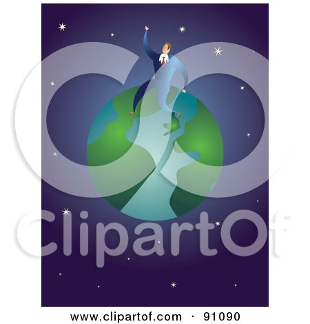 Royalty-Free (RF) Clipart Illustration of a Businessman Sitting On Top Of A Globe Against A Starry Universe by Prawny
