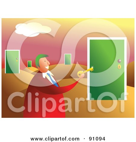 Royalty-Free (RF) Clipart Illustration of a Businessman Holding A Key In A Desert Of Doors by Prawny