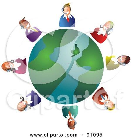 Royalty-Free (RF) Clipart Illustration of a Customer Service Team Around A Globe by Prawny