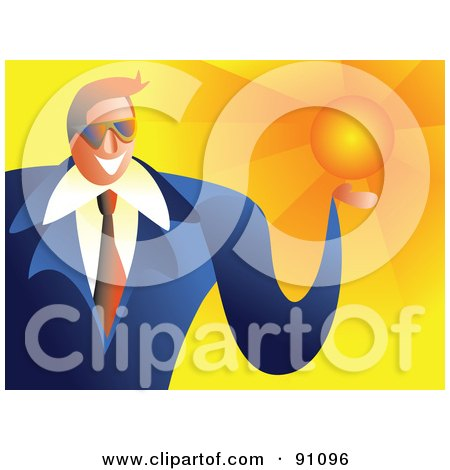 Royalty-Free (RF) Clipart Illustration of a Friendly Businessman Holding The Sun by Prawny