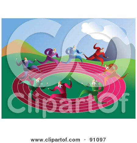 Royalty-Free (RF) Clipart Illustration of Businessmen Racing On A Round Pink Track by Prawny
