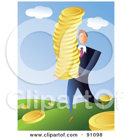 Royalty-Free (RF) Clipart Illustration of a Businessman Harvesting Golden Coins In A Field by Prawny