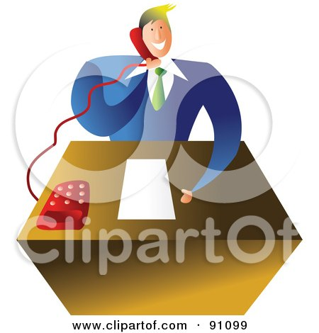 Royalty-Free (RF) Clipart Illustration of a Businessman Talking On A Telephone At His Desk by Prawny