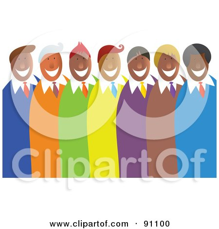 Royalty-Free (RF) Clipart Illustration of a Diverse Team Of Happy Men In Colorful Suits by Prawny