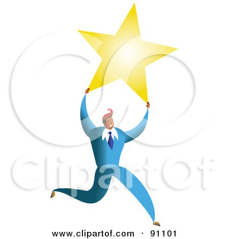 Royalty-Free (RF) Clipart Illustration of a Successful Businessman Carrying A Star by Prawny