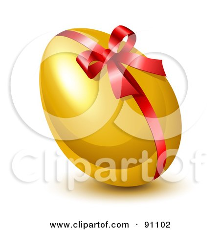 Royalty-Free (RF) Clipart Illustration of a Shiny 3d Golden Easter Egg With A Red Ribbon And Bow by Oligo