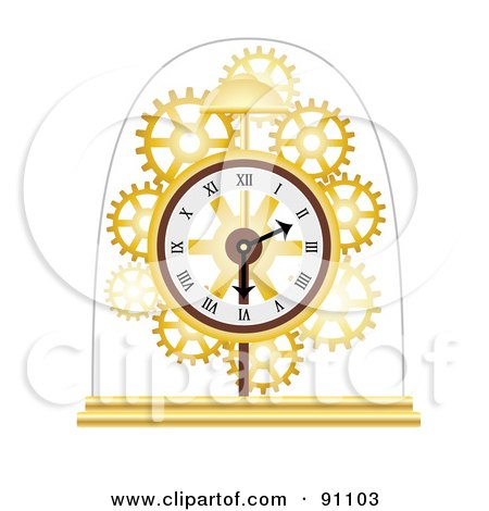 Royalty-Free (RF) Clipart Illustration of a Golden Skeleton Clock Under A Glass Dome by mheld