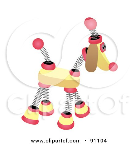 Royalty-Free (RF) Clipart Illustration of a Yellow And Pink Springy Robotic Dog by mheld