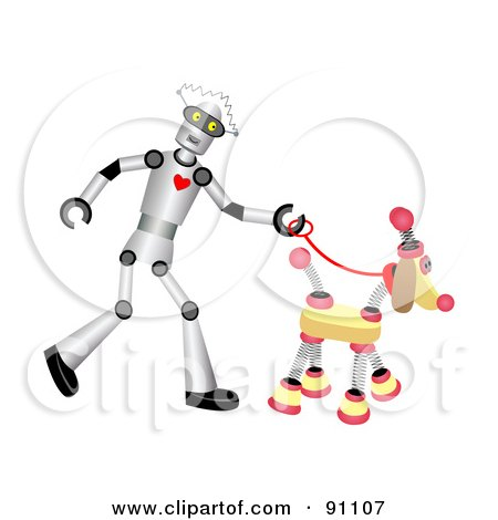 Royalty-Free (RF) Clipart Illustration of a Male Robot Walking A Springy Dog by mheld