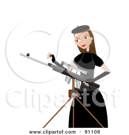 Royalty-Free (RF) Clipart Illustration of a Female Sharp Shooter Standing Beside A Tripod by mheld