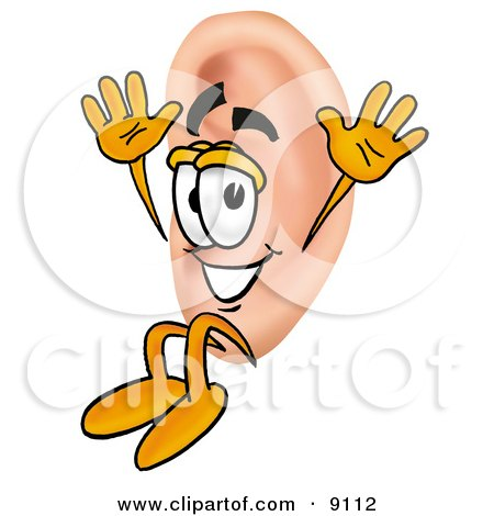 Clipart Picture of an Ear Mascot Cartoon Character Jumping by Toons4Biz