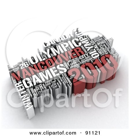 Royalty-Free (RF) Clipart Illustration of a 3d Collage Of Vancouver Olypmic Games Words by MacX