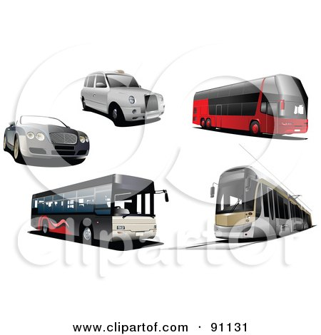 Royalty-Free (RF) Clipart Illustration of a Digital Collage Of A Convertible Car, White Car, City Buses And A Tram by leonid
