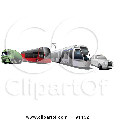 Royalty-Free (RF) Clipart Illustration of a Digital Collage Of A Big Rig, Bus, City Tram And Car by leonid